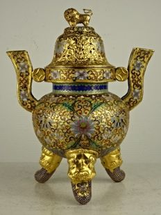 Champlevé gold plated censer - China - second half of the 20th century