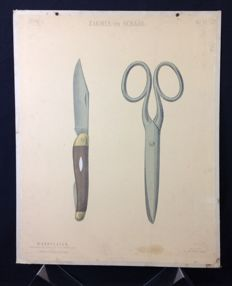 School poster: Pocket knife and scissors. Poster from the drawing teachings from the beginning last century from Teekenen voor kinderen