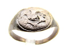 Viking Bronze Seal Ring with Dragon Fafnir Motif - (Wearable gift with gift bag) - 19mm