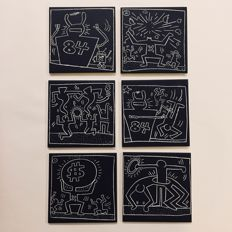 Estate of Keith Haring - set of 6 cork backed coasters: 'Subway Tile'