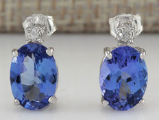3.26 Carat Tanzanite And Diamond Earrings 14K Solid White Gold, Face Measure: 1.00x7.00mm - No reserve Price