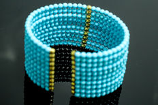 Flexible 18 kt Gold Bracelet and turquoises *No reserve price*