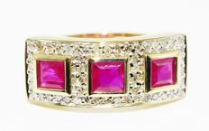 1.57 ct gold ring with natural rubies and diamonds - no reserve price -
