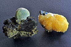 Prehnite and Epidote and Stilbite and Epidote from Mali - 5.9 to 6.6 cm - 245 gm (2)