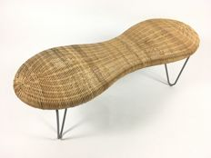 Designer unknown - vintage rattan loop leg bench