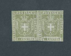 Tuscany, 1860 – 5 cent. olive green, horizontal pair, Provisional Government – Sass. No.  18a