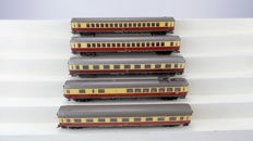 Fleischmann H0 - 5162/5163/5169 - 5 TEE express train carriages 1st class with dining carriage of the DB