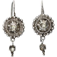 Silver earrings each set with 2 rose cut diamonds of approx. 0.045 ct in total - Length x Width: 25 mm x 10 mm