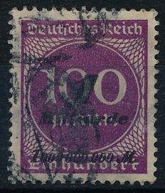 "German Empire/Reich - 1923 - 1 billion on 100 Mark violet-purple, so-called ""Hitlerprovisorium"", Michel 331a with photographic certificate Düntsch BPP"