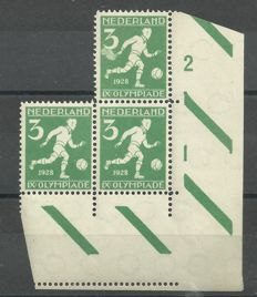The Netherlands 1928 - Olympiad, 3 ct in corner piece, with erronous print - Nvph 214
