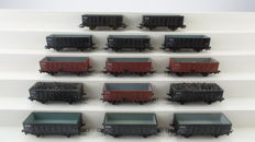 Piko H0 - From various  sets - 14 coal/beet wagons of the NS