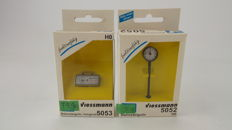 Viessmann H0-5052/5053-Two real working platform clocks, including battery