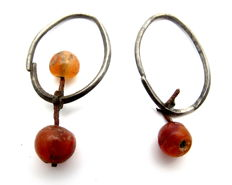 Pair of Viking Period Silver Earrings with Amber Beads - 34mm (2)