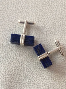 925 Silver cufflinks with carved Lapis Lazuli Cabochon