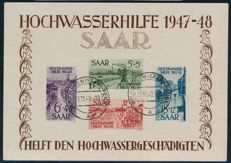 Saarland – 1948 – Flood relief 1947 – 1948  block issue, Michel block 1 -2 with photographic certificates Geigle BPP