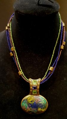 Rare CHICO's blue-green Enamel Necklace from 1970's