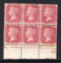 Great Britain Queen Victoria - 1d Red Stanley Gibbons 43 Plate 172, Marginal Block 6
