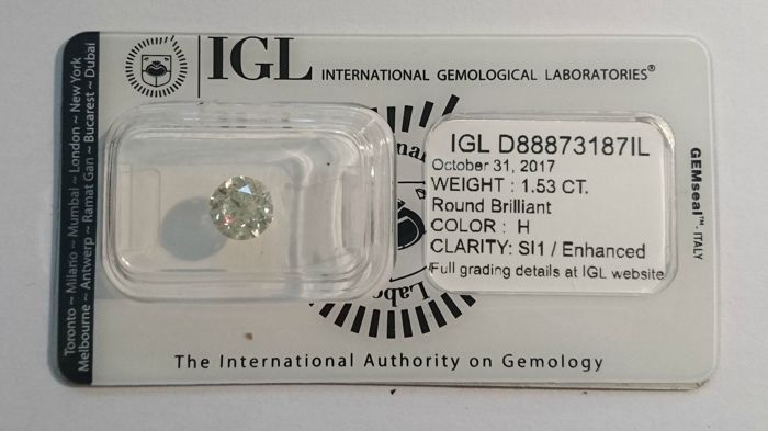 1.53 carat H  SI1 Round Brilliant Natural Diamond *** Low Reserve Price***