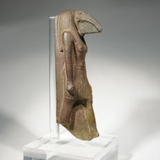 Egyptian statuette of the god Toth. Faience h 8,8 cm