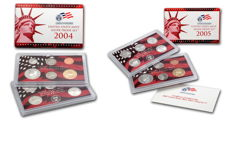 USA - US Mint - United States Mint + 50 State Quarters - Silver - Silver Proof Set - 2004 + 2005