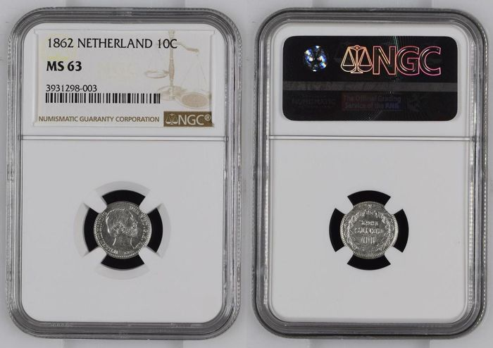 The Netherlands - 10 Cent 1862 (NGC MS 63) - Silver