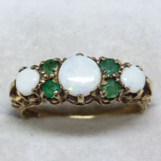 Vintage Australian white Opal with Brazilian Emeralds in solid yellow gold