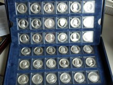 The Netherlands - 36 medals of all Orange monarchs - Complete collection - silver