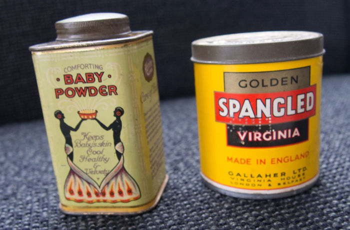 Antique tin for baby powder + Golden SPANGLED Virginia cigarettes tin