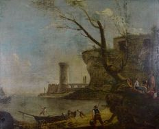 Italian School (XVIII° century) A Fortified Harbour Scene with figures