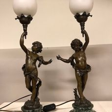 Auguste Moreau (1834-1917) - naked young men - set of patinated zamak lamp bases in the form of naked young men - France - c. 1900