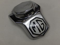 Vintage Original 1950/1960 Chrome and Enamel MG TF MG TC Car Bonnet Mascot Hood Ornament with Original Enamel Badge