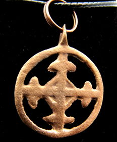 Medieval / Crusaders - open-work Religious Pendant with Cross - Wearable Gift - 28 mm