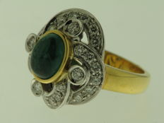 ring in 18 kt white and yellow gold with 1 ct of diamonds - ring size 12