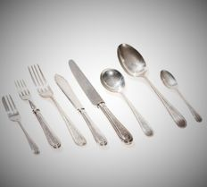 925 silver cutlery set with 72 pieces, England/France, 1977/78 - 3904 grams