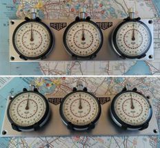 Rare 3x vintage HEUER 1/10 Th sec Stopwatches Rally / Race dash mounted set. 1960 - 1980.