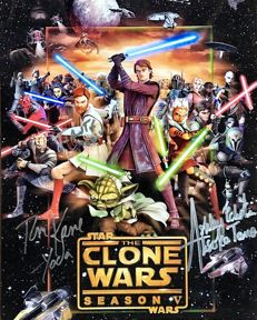 Star Wars - Clone Wars photo (8x10) signed by Tom Kane, James Arnold Taylor and Ashley Eckstein