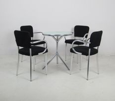 F.A. Porsche for YCAMI - set of 4 'Bacco' chairs with a 'TUBO' model table