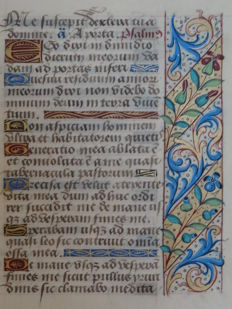 Manuscript; Large leaf from a book of hours illuminated with red and blue flowers in diagonals - Isaiah 38 - France - c. 1475