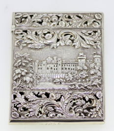 A fine early Victorian silver card case with scene of Kenilworth Castle  - Nathaniel Mills - Birmingham - 1838