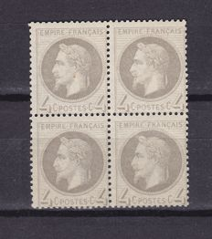 France 1866 - Yvert 27B in block of 4, signed and PDF from Calves