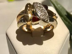 Nouvelle Bague - women's ring - 2 golds - diamonds and enamel - 13.4 g - size 54/14