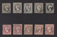 Luxembourg 1852 – King Willem III – 5 complete sets 1st emission in various colour variations – Michel 1/2