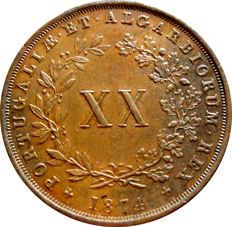Monarchy of Portugal - D Luís I ( 1861-1889 ) - XX Reis - 1874 ( C/ Pé ) – Copper