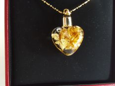 24K Gold (999.9) heart shaped pendant - New, Unworn, Complete in Box ***no reserve price***