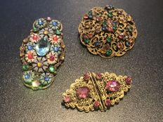 Rare Czech max Neiger Brooches and very rare gem set duet clip