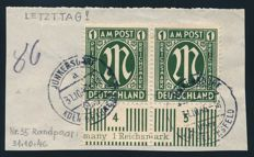 Allied occupation - 1945 - postage stamps 'M' in oval 1 RM in pair from the bottom edge of sheet with printing error, Michel 35B2/35B2I with Wehner photo attest