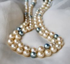 Vintage genuine Japanese Akoya necklace (endless) of 84cm with strong lustrous sea pearls of 7.2-7.4mm **No Reserve**
