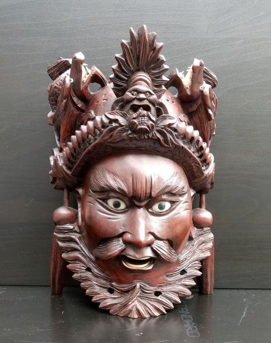 Chinese warrior head + 5 Chinese sages - China - Late 20th century