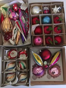 Beautiful Old Collection of Christmas Baubles  + Original Philips Christmas Tree Light Set + Sweden Christmas Lights from 1970 s