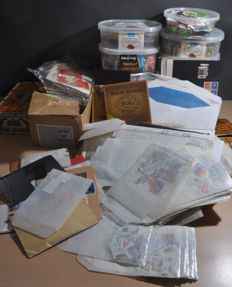 The Netherlands - Batch with stamps in containers, bags, envelopes, etcetera.